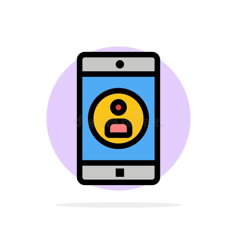 Uso, móvil, aplicación móvil, icono plano del color de fondo del círculo del extracto del perfil ilustración del vector