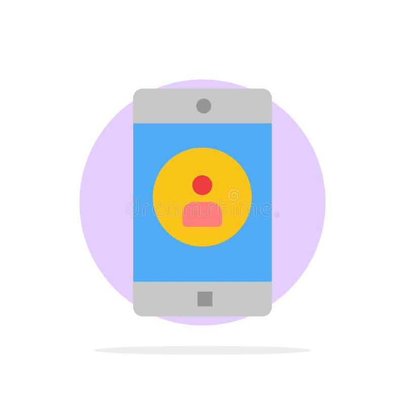 Uso, móvil, aplicación móvil, icono plano del color de fondo del círculo del extracto del perfil stock de ilustración