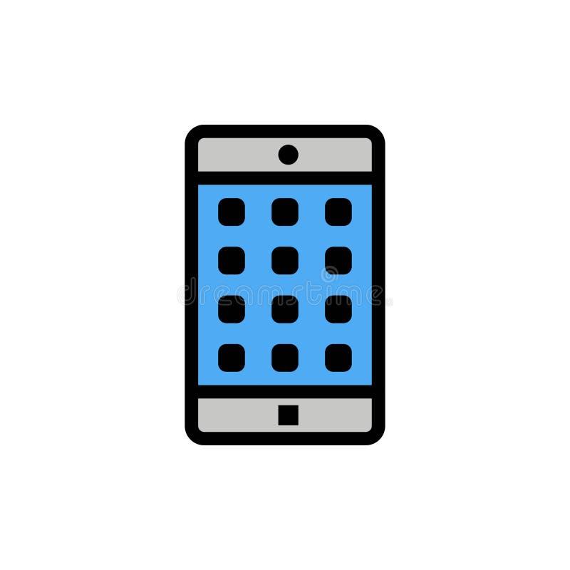 Uso, móvil, aplicación móvil, icono plano del color de la contraseña Plantilla de la bandera del icono del vector ilustración del vector