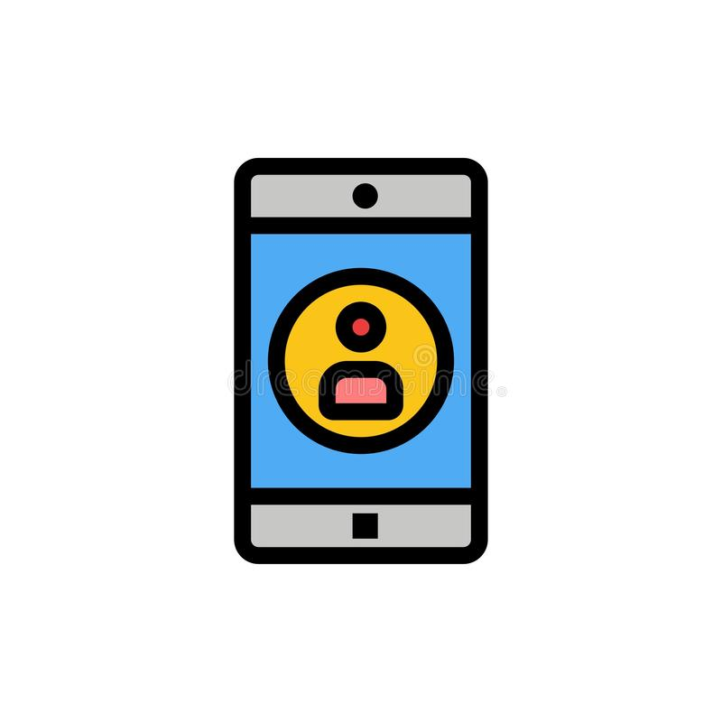 Uso, móvil, aplicación móvil, icono plano del color del perfil Plantilla de la bandera del icono del vector libre illustration