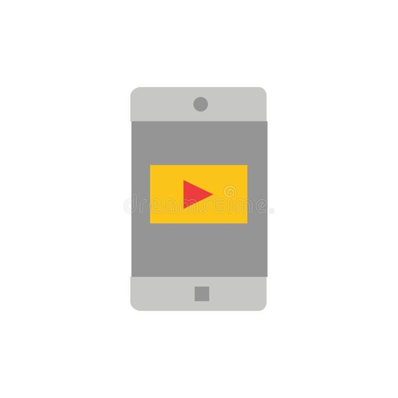 Uso, móvil, aplicación móvil, icono plano video del color Plantilla de la bandera del icono del vector stock de ilustración