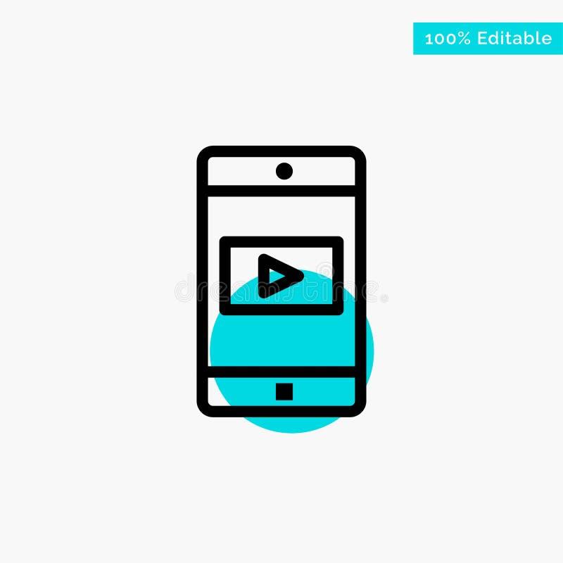 Uso, móvil, aplicación móvil, icono video del vector del punto del círculo del punto culminante de la turquesa libre illustration