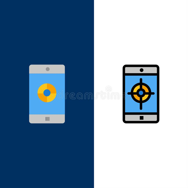 Uso, móvil, aplicación móvil, iconos de la blanco El plano y la línea icono llenado fijaron el fondo azul del vector ilustración del vector