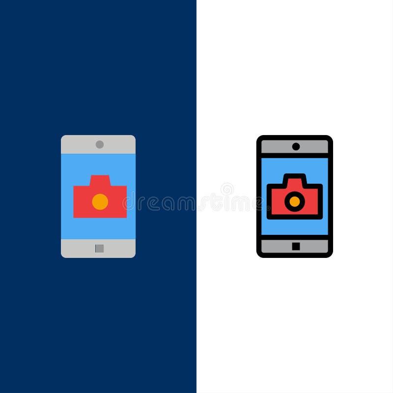 Uso, móvil, aplicación móvil, iconos de la cámara El plano y la línea icono llenado fijaron el fondo azul del vector ilustración del vector