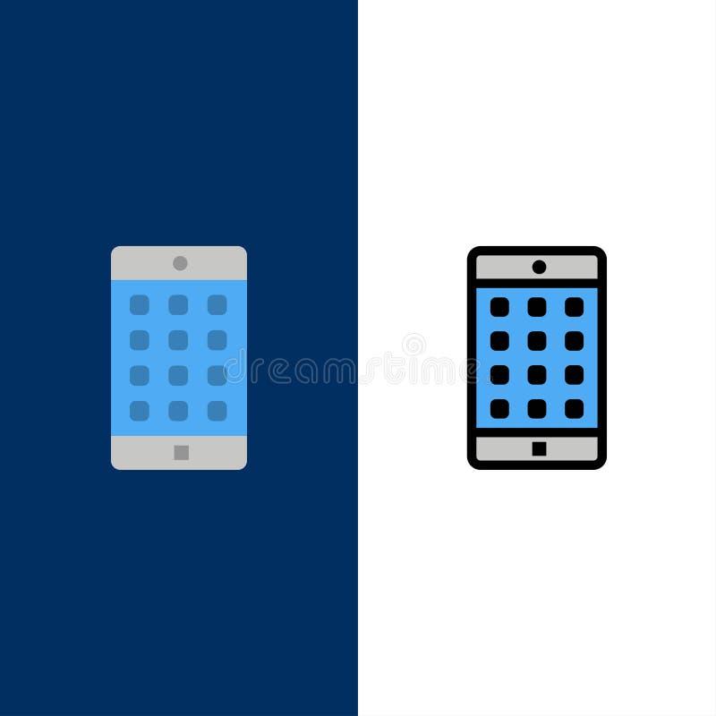 Uso, móvil, aplicación móvil, iconos de la contraseña El plano y la línea icono llenado fijaron el fondo azul del vector stock de ilustración
