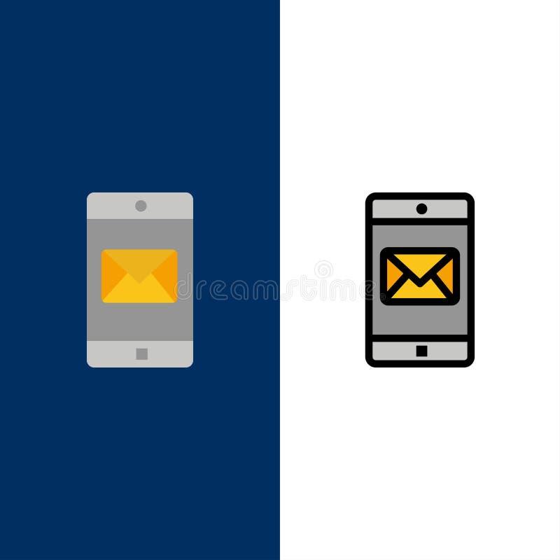Uso, móvil, aplicación móvil, iconos del correo El plano y la línea icono llenado fijaron el fondo azul del vector libre illustration