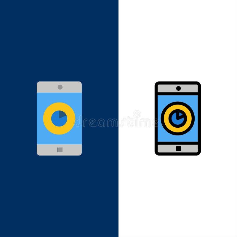 Uso, móvil, aplicación móvil, iconos del tiempo El plano y la línea icono llenado fijaron el fondo azul del vector libre illustration