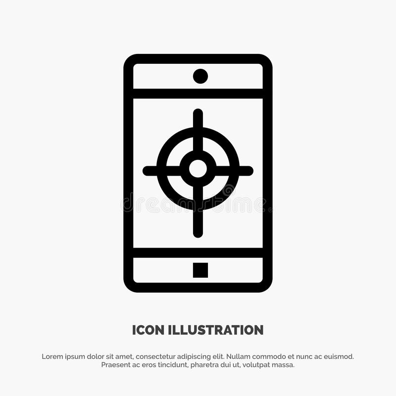 Uso, móvil, aplicación móvil, línea de blanco vector del icono ilustración del vector