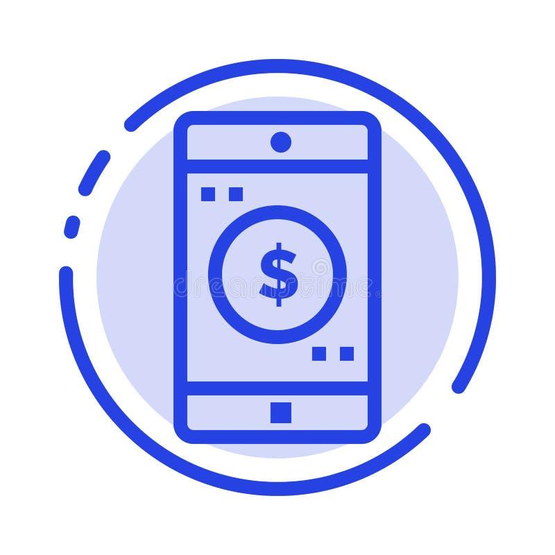 Uso, móvil, aplicación móvil, línea de puntos azul línea icono del dólar stock de ilustración