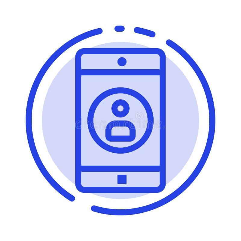 Uso, móvil, aplicación móvil, línea de puntos azul línea icono del perfil ilustración del vector