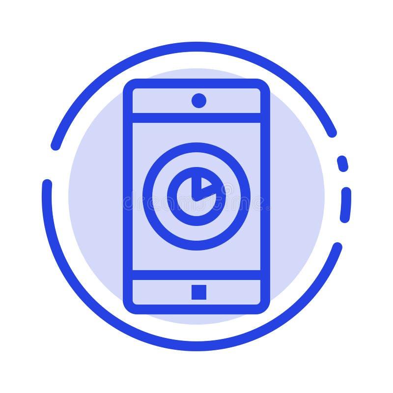 Uso, móvil, aplicación móvil, línea de puntos azul línea icono del tiempo ilustración del vector