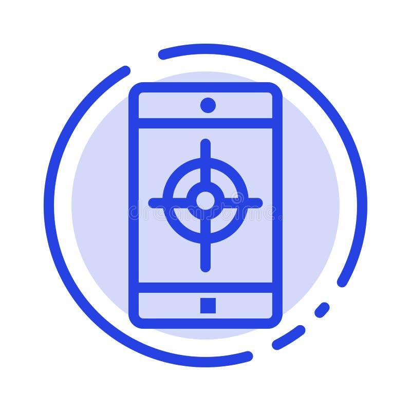 Uso, móvil, aplicación móvil, línea de puntos azul línea icono de la blanco libre illustration