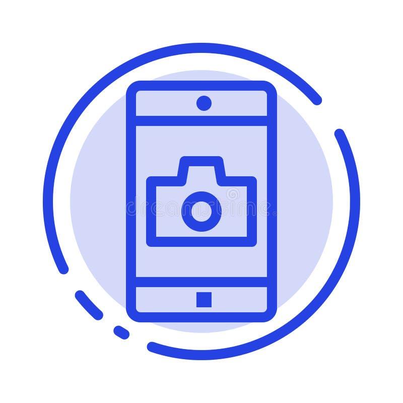 Uso, móvil, aplicación móvil, línea de puntos azul línea icono de la cámara stock de ilustración