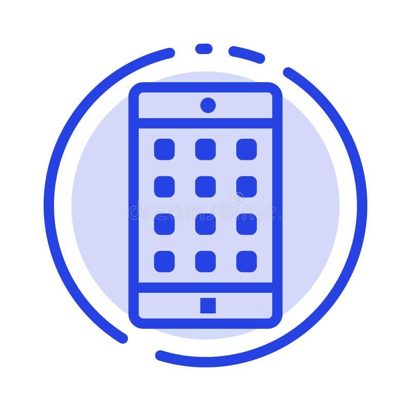 Uso, móvil, aplicación móvil, línea de puntos azul línea icono de la contraseña ilustración del vector