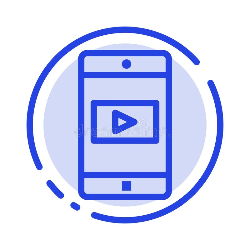 Uso, móvil, aplicación móvil, línea de puntos azul video línea icono ilustración del vector
