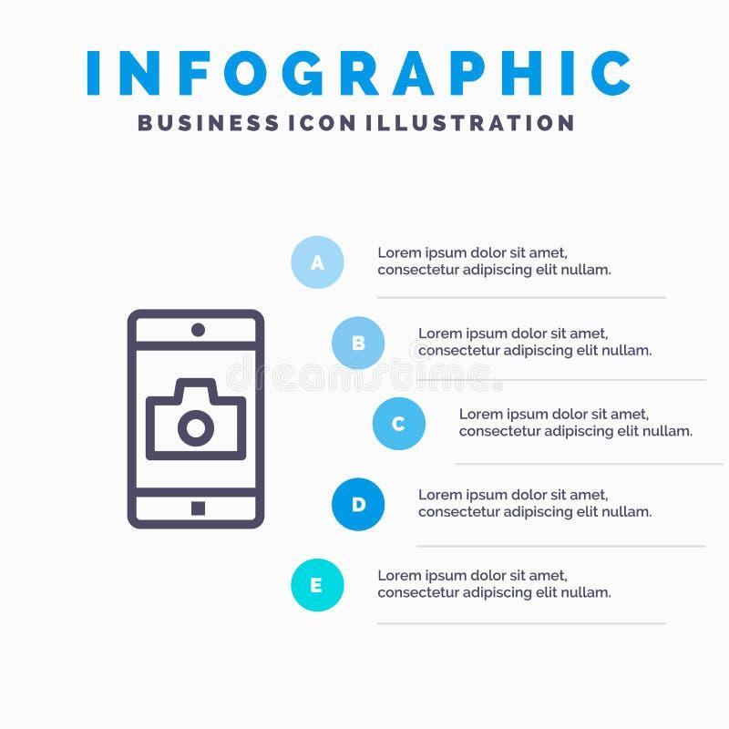 Uso, móvil, aplicación móvil, línea icono de la cámara con el fondo del infographics de la presentación de 5 pasos stock de ilustración