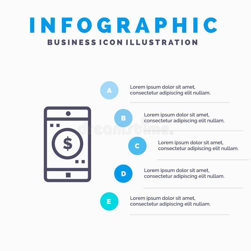 Uso, móvil, aplicación móvil, línea icono del dólar con el fondo del infographics de la presentación de 5 pasos stock de ilustración