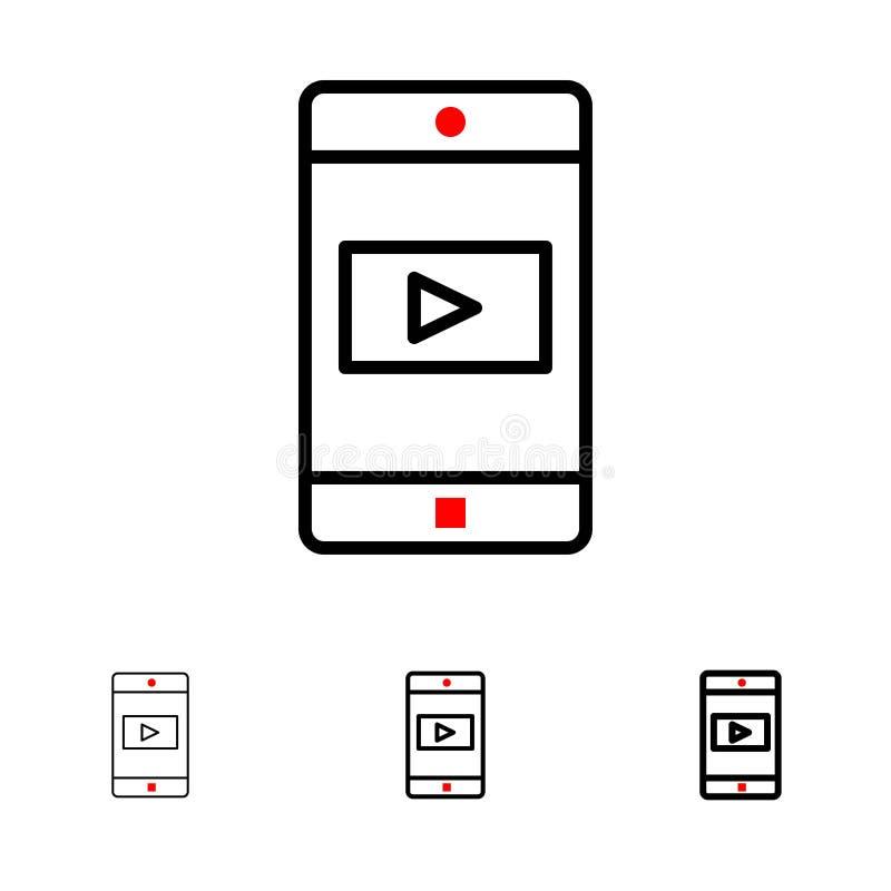 Uso, móvil, aplicación móvil, línea negra intrépida y fina video sistema del icono libre illustration