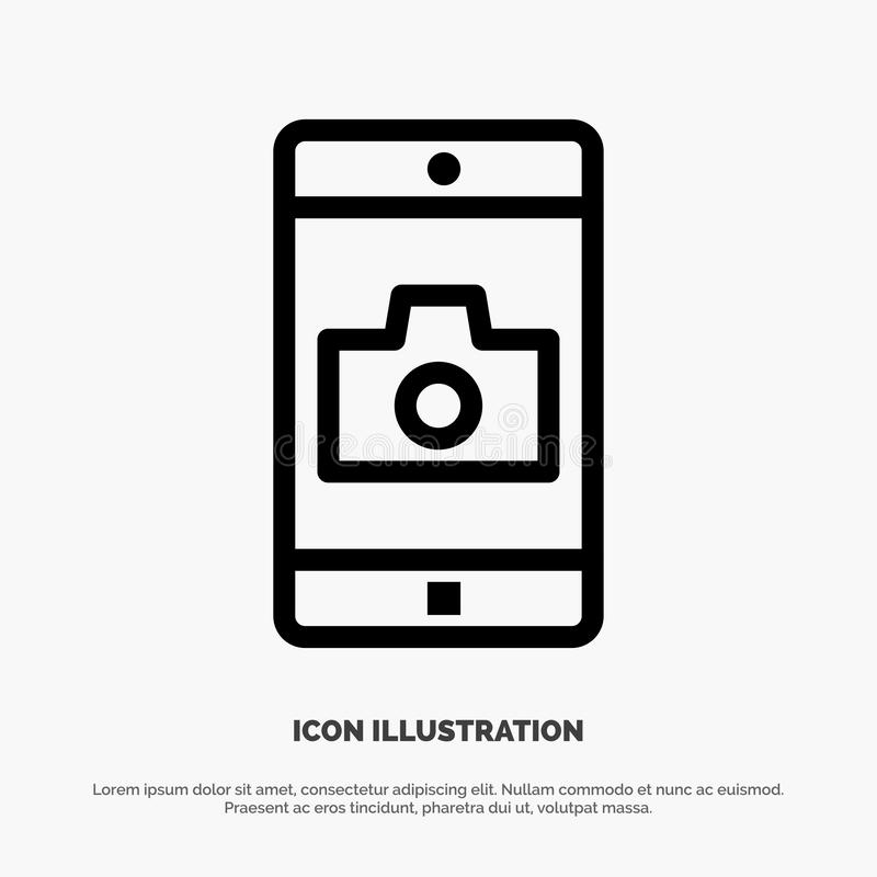 Uso, móvil, aplicación móvil, línea vector de la cámara del icono ilustración del vector