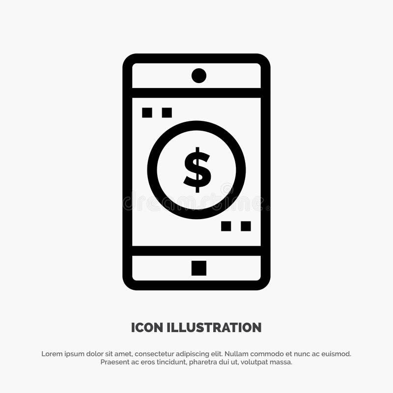 Uso, móvil, aplicación móvil, línea vector del dólar del icono stock de ilustración