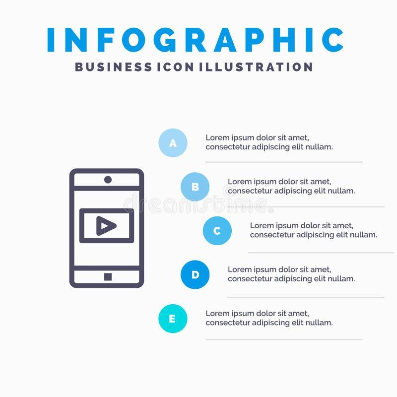 Uso, móvil, aplicación móvil, línea video icono con el fondo del infographics de la presentación de 5 pasos libre illustration