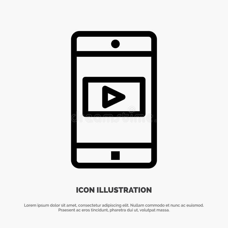 Uso, móvil, aplicación móvil, línea video vector del icono libre illustration