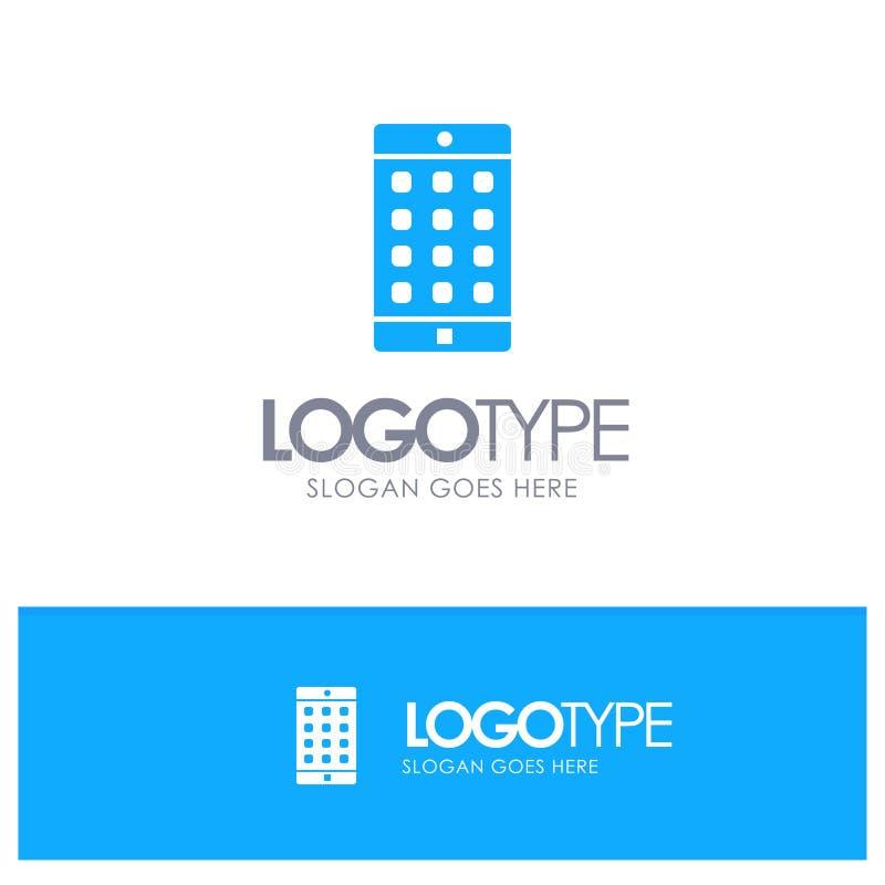 Uso, móvil, aplicación móvil, logotipo sólido azul de la contraseña con el lugar para el tagline libre illustration