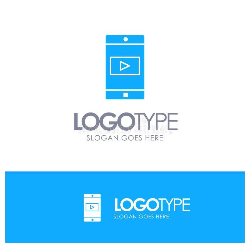 Uso, móvil, aplicación móvil, logotipo sólido azul video con el lugar para el tagline ilustración del vector