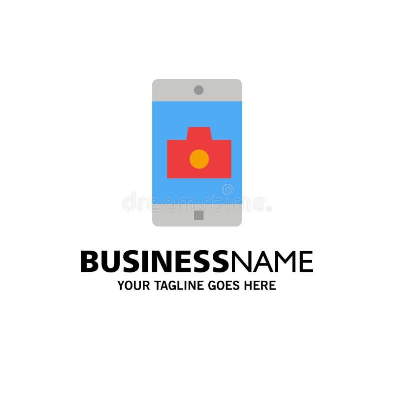 Uso, móvil, aplicación móvil, negocio Logo Template de la cámara color plano stock de ilustración