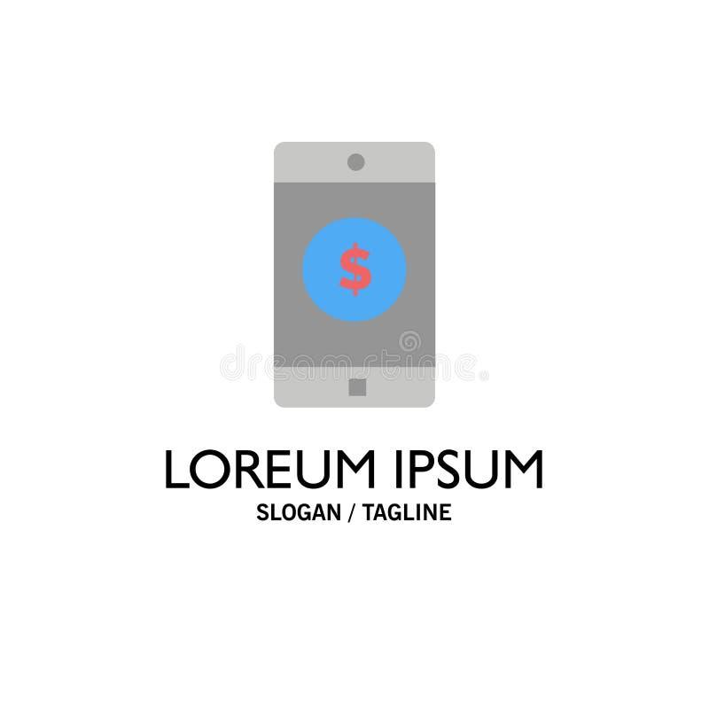 Uso, móvil, aplicación móvil, negocio Logo Template del dólar color plano ilustración del vector