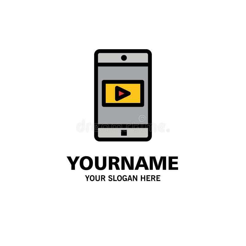 Uso, móvil, aplicación móvil, negocio video Logo Template color plano libre illustration