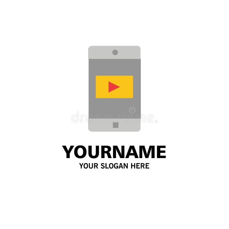 Uso, móvil, aplicación móvil, negocio video Logo Template color plano stock de ilustración