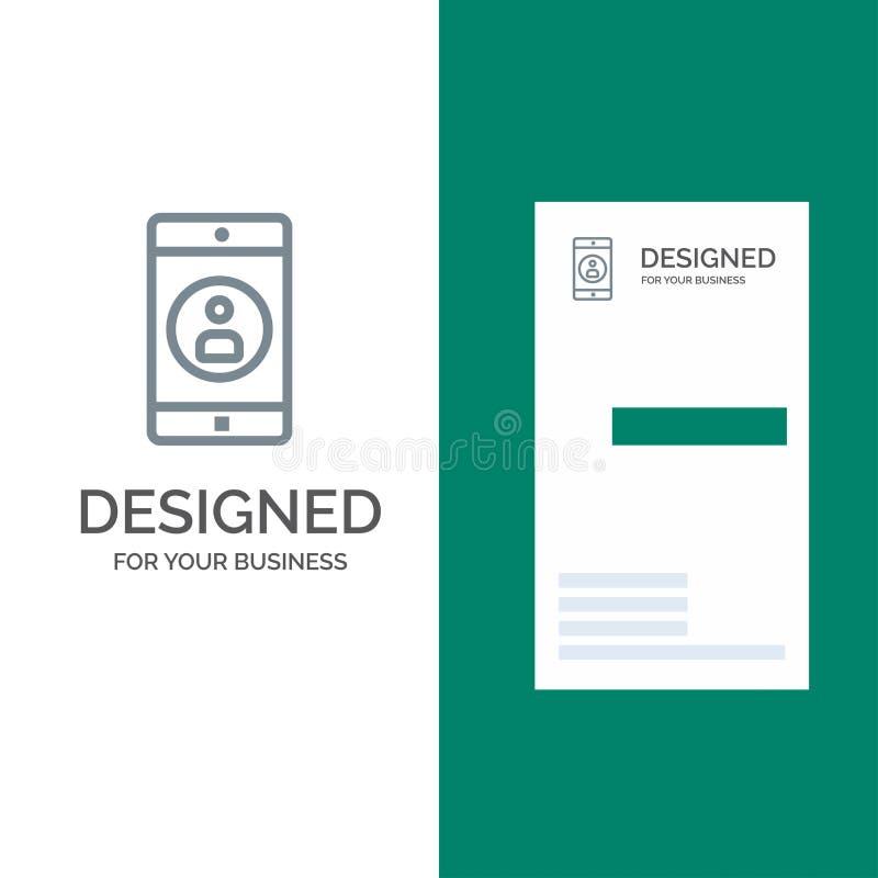 Uso, móvil, aplicación móvil, perfil Grey Logo Design y plantilla de la tarjeta de visita stock de ilustración