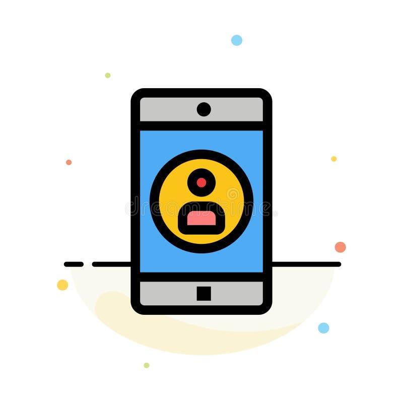 Uso, móvil, aplicación móvil, plantilla plana del icono del color del extracto del perfil libre illustration