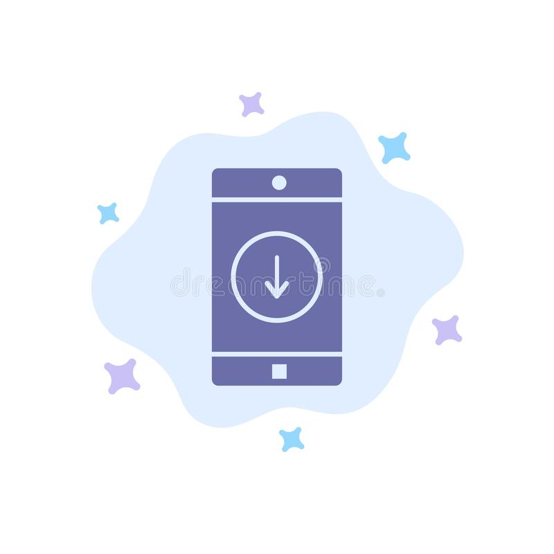 Uso, móvil, aplicación móvil, plumón, icono azul de la flecha en fondo abstracto de la nube libre illustration