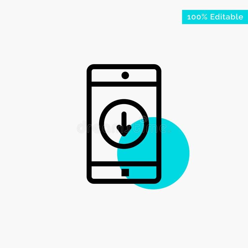 Uso, móvil, aplicación móvil, plumón, icono del vector del punto del círculo del punto culminante de la turquesa de la flecha ilustración del vector
