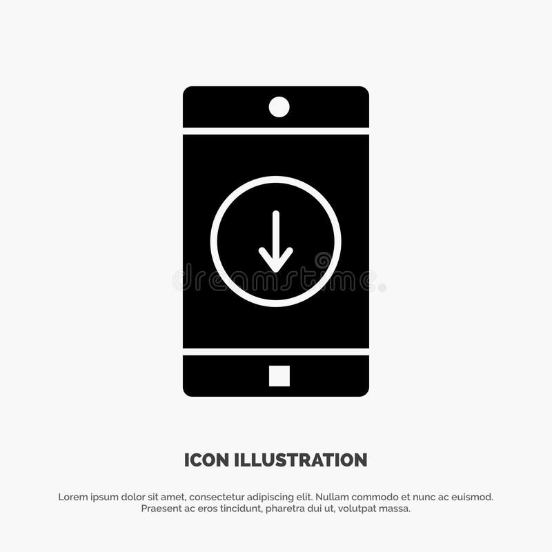 Uso, móvil, aplicación móvil, plumón, vector sólido del icono del Glyph de la flecha ilustración del vector