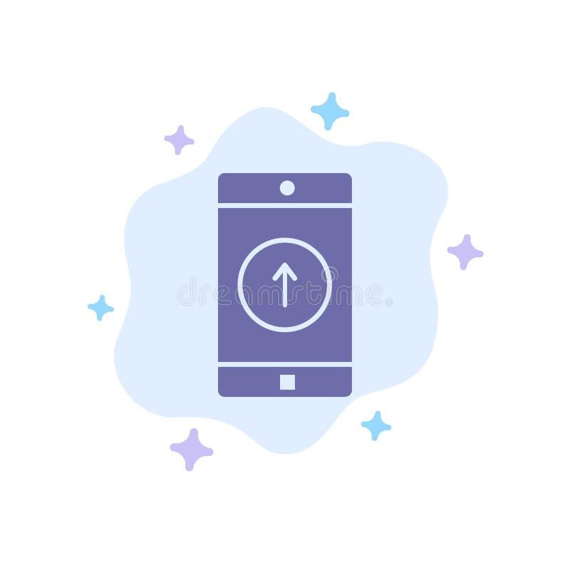 Uso, móvil, aplicación móvil, Smartphone, enviado icono azul en fondo abstracto de la nube stock de ilustración