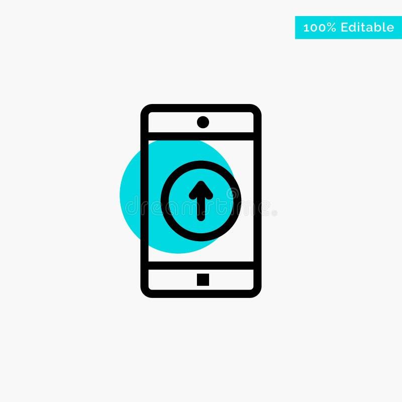 Uso, móvil, aplicación móvil, Smartphone, enviado icono del vector del punto del círculo del punto culminante de la turquesa libre illustration