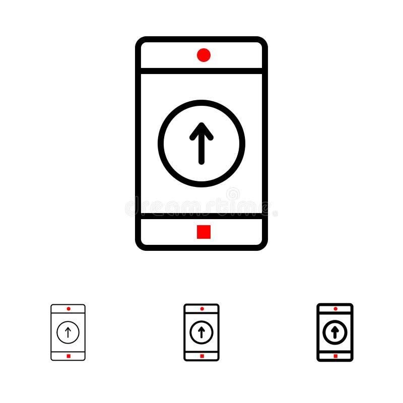 Uso, móvil, aplicación móvil, Smartphone, enviado línea negra intrépida y fina sistema del icono libre illustration
