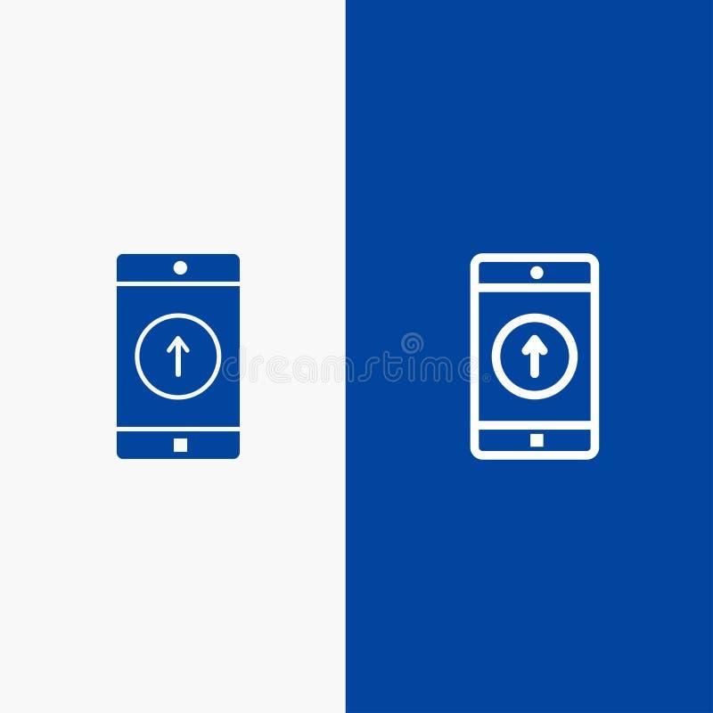 Uso, móvil, aplicación móvil, Smartphone, enviado línea y Glyph icono sólido línea de bandera azul y Glyph azul sólido del icono stock de ilustración