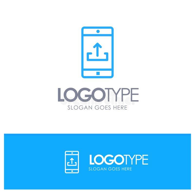 Uso, móvil, aplicación móvil, Smartphone, esquema azul Logo Place de la carga por teletratamiento para el Tagline stock de ilustración