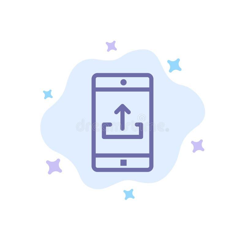 Uso, móvil, aplicación móvil, Smartphone, icono azul de la carga por teletratamiento en fondo abstracto de la nube ilustración del vector