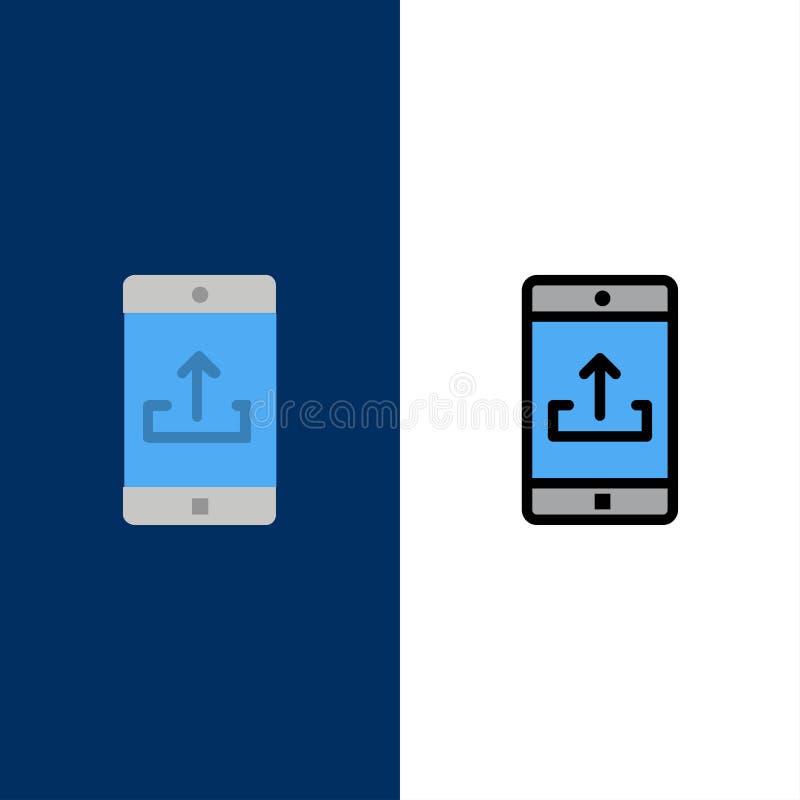 Uso, móvil, aplicación móvil, Smartphone, iconos de la carga por teletratamiento El plano y la línea icono llenado fijaron el fon libre illustration