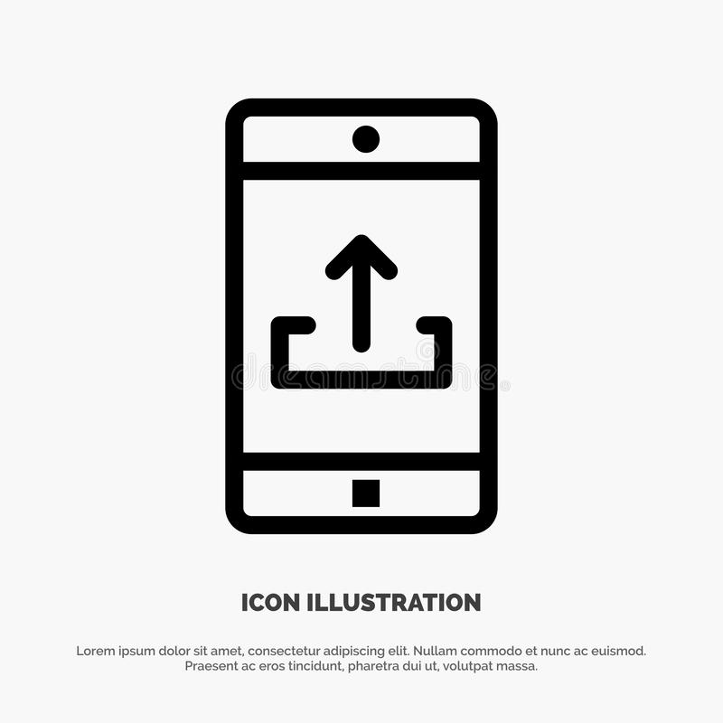 Uso, móvil, aplicación móvil, Smartphone, línea vector de la carga por teletratamiento del icono ilustración del vector