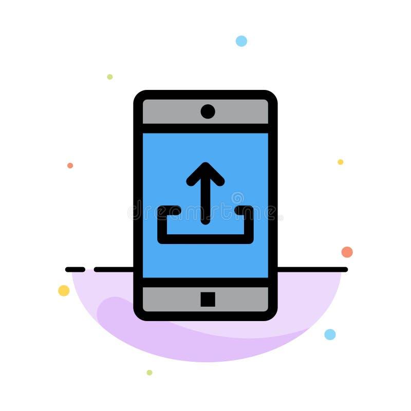Uso, móvil, aplicación móvil, Smartphone, plantilla plana del icono del color del extracto de la carga por teletratamiento stock de ilustración