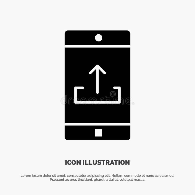 Uso, móvil, aplicación móvil, Smartphone, vector sólido del icono del Glyph de la carga por teletratamiento ilustración del vector