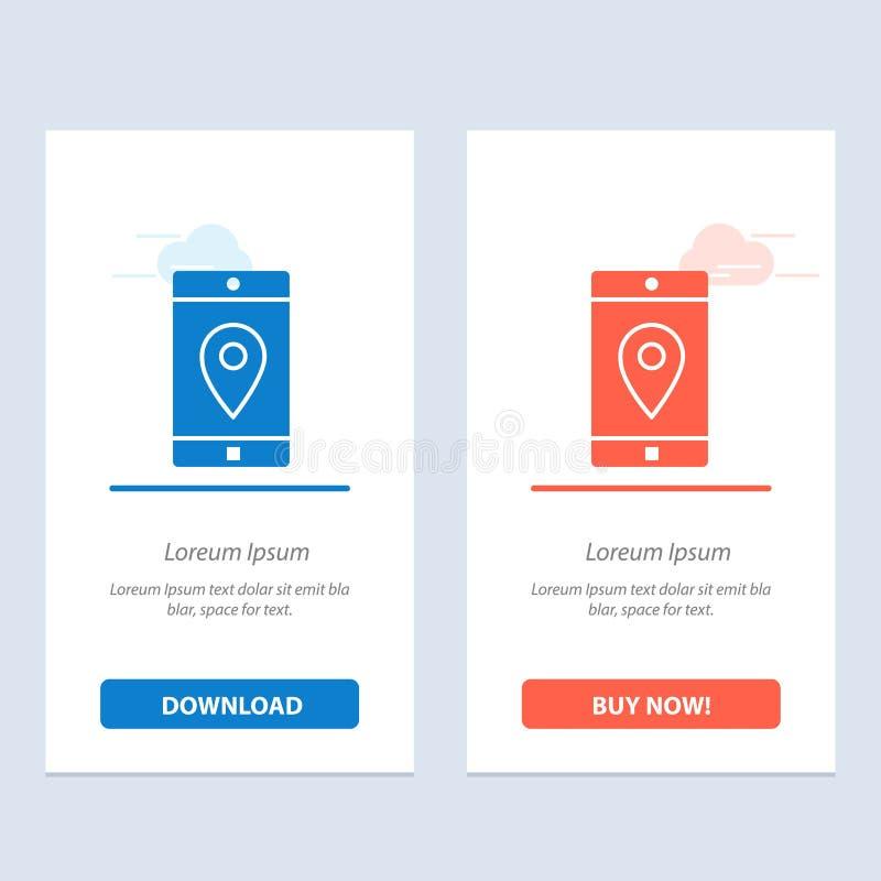 Uso, móvil, aplicación móvil, ubicación, azul del mapa y transferencia directa roja y ahora comprar la plantilla de la tarjeta de ilustración del vector