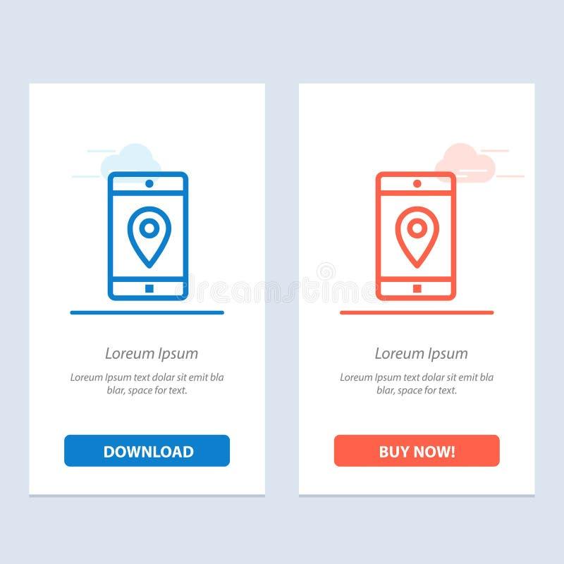 Uso, móvil, aplicación móvil, ubicación, azul del mapa y transferencia directa roja y ahora comprar la plantilla de la tarjeta de stock de ilustración