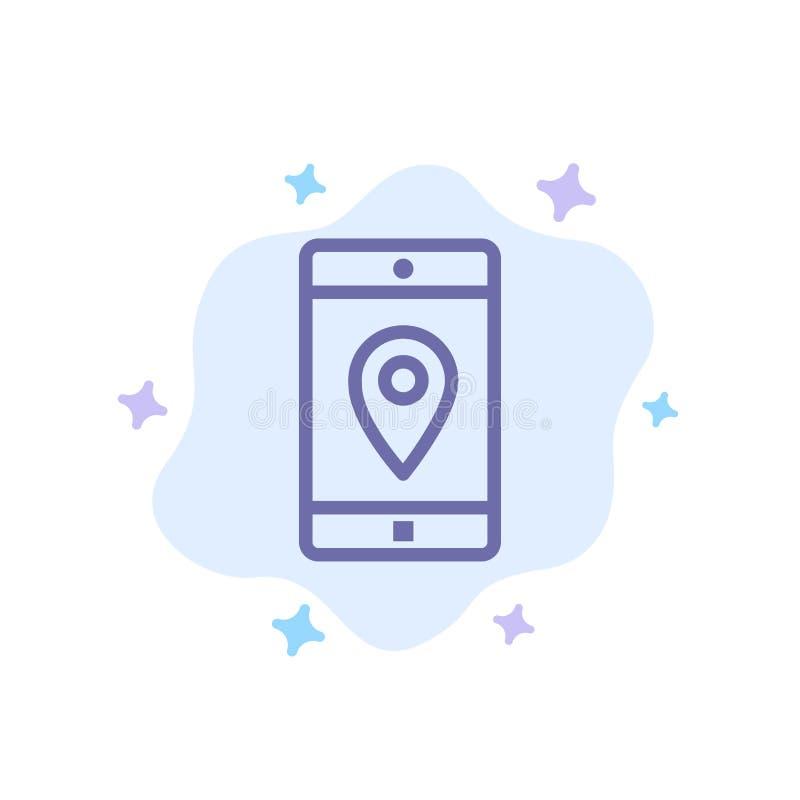 Uso, móvil, aplicación móvil, ubicación, icono azul del mapa en fondo abstracto de la nube libre illustration